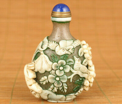 Antique fine old glaze hand carving bird flower art figure belle snuff bottle