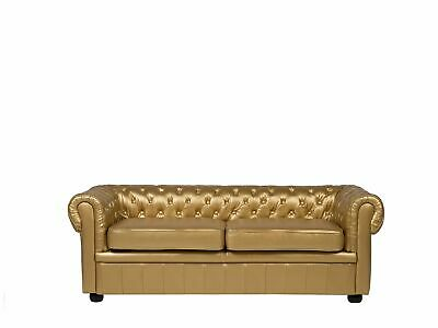 Vintage Faux Leather 3 Seater Sofa Buttoned Scroll Arms Gold  Chesterfield