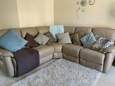 Leather Corner Sofa in Beige DFS