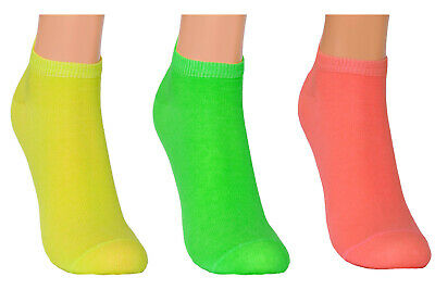 Women Girls Rich Cotton Soft Colourful Sport Trainer Socks Low Cut 3 packs