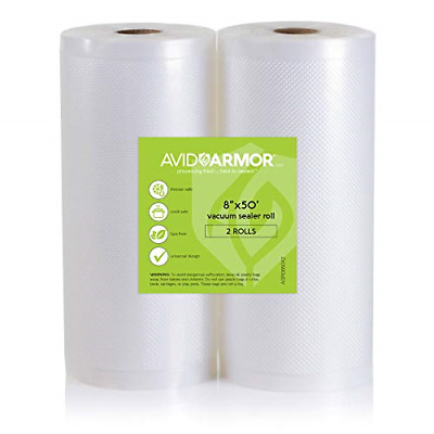 """Two 8""""x50' Vacuum Sealer Bags Rolls for Food Saver, Seal a Meal & other Vac BPA"""