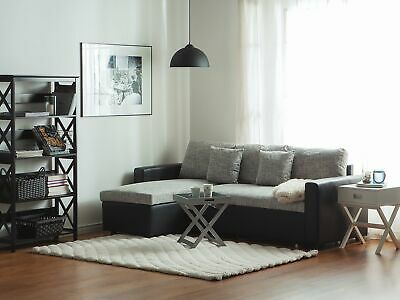 Modern Fabric Corner Sofa Pull Out Bed Left Right Chaise Grey Tampere