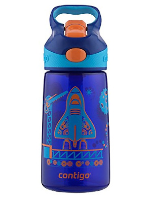Contigo AUTOSPOUT Straw Striker Kids Water Bottle, 14 oz, Sapphire