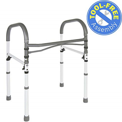 Vaunn Deluxe Bathroom Safety Toilet Rail - Adjustable Toilet Safety Frame - Grab