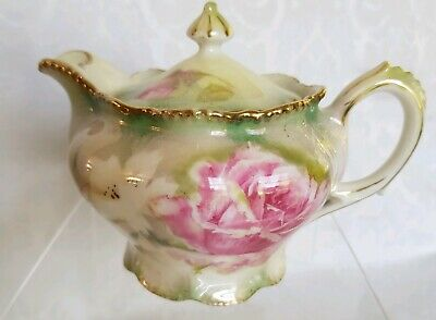 Antique R.S. Prussia Footed lided Syrup Germany  GORGEOUS Roses &Gold TRIM