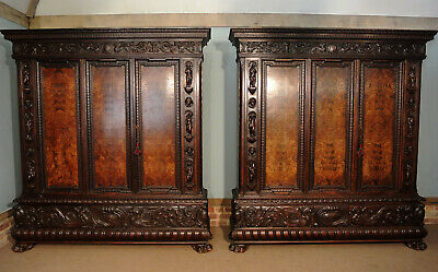 Pair of 19th Century Italian Oak and Walnut Armoires