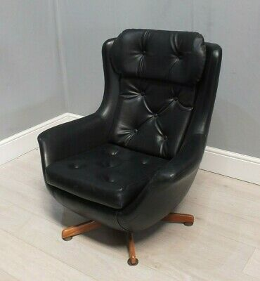 Stylish Retro Black Leather Swivel Egg Tub Lounge Chair 1950's / 60's   (26)