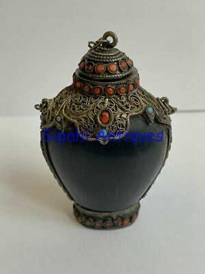 Ottoman Arabic Islamic Silver Coral Turquoise Scent Perfume Bottle From Horn