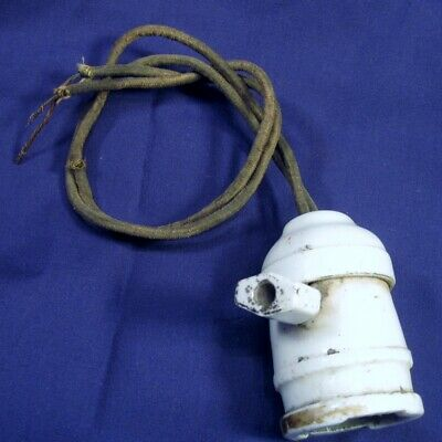 Vtg Hanging Porcelain Light Socket with Switch P85 and Rayon Covered Wires WORKS