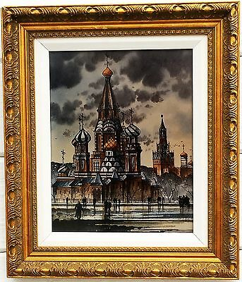 Russia Ussr Red Square St Basil's Cathedral Gold Gilt Framed Signed Lithograph