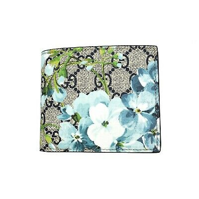 d3892d1a8f138e NWT Gucci Blooms Blue Floral GG Logo Canvas Leather Mens Bifold Wallet  AUTHENTIC