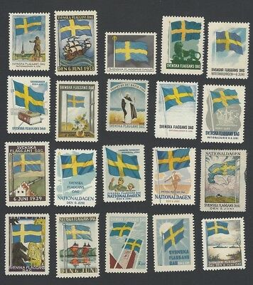 Sweden collection of 1935-52 Flag Day poster stamps MH/MNH (20)