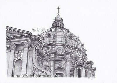 Drawing of Architectural Dome in Paris, France - Graphite Pencil Sketch Moiimran
