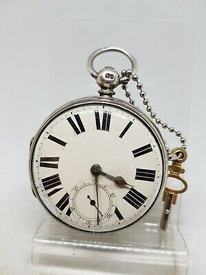 Chunky Antique solid silver gents fusee London pocket watch 1869 ticks ref540