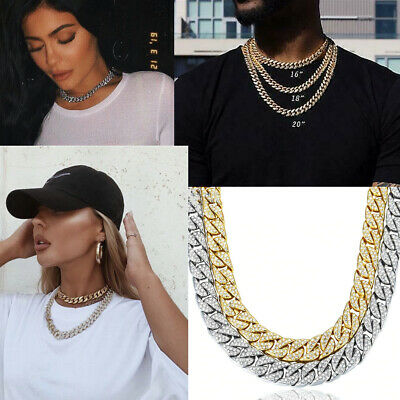 Hip Hop Gold Silver Ice Out Necklace Miami Cuban Diamond Choker Pendant Jewelry