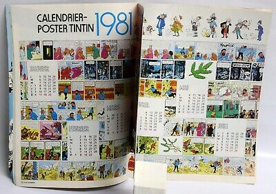 Poster CALENDRIER TINTIN 1981 COMPLET couv. Hergé JOURNAL TINTIN Belge TBE