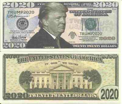 Donald Trump Re Election Second Term 2020 Dollar Bills x 2 White House