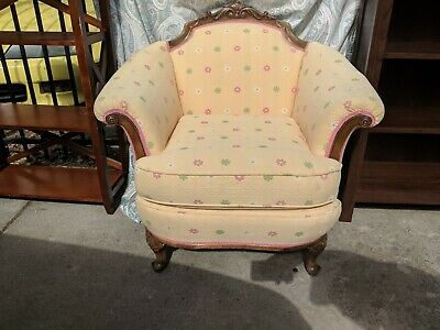 Antique kids nursery chair. Solid wood frame Hand-carved mahogany floral pattern