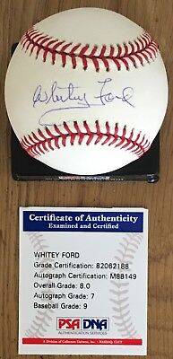 Near Mint Whitey Ford Licensed Psa/Dna Authenticated Signed Baseball W/Psa Case