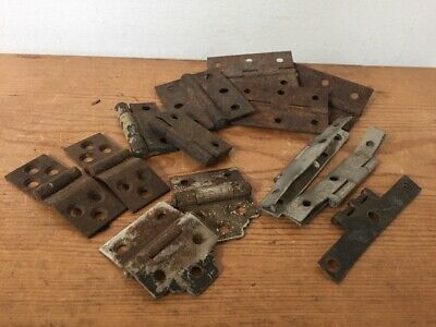 Mixed Lot Of Vintage Antique Distressed Metal Hinges Rusty Door Cabinet Hardware