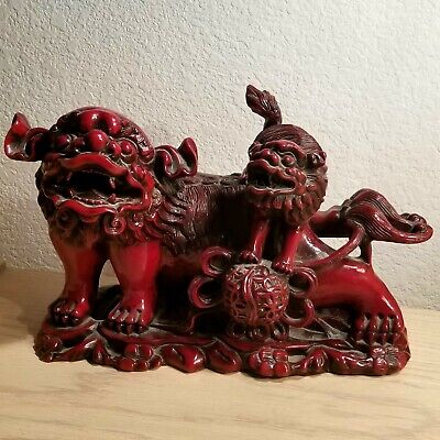 Incredible & Scarce Carved Red Resin Chinese Asian Foo Dog and Pup