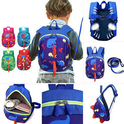 Baby Toddler Kids Cartoon Dinosaur Safety Backpack with Reins Zipper  Bag