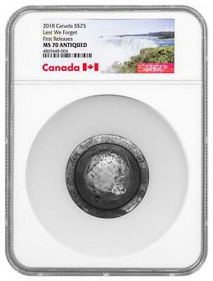 2018 Canada Silver $25 - Lest We Forget - WWI Helmet - MS70 ANTIQUED FR NGC Coin
