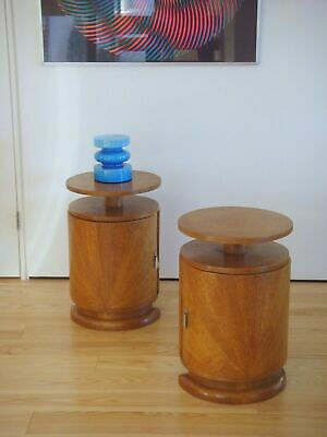 Pair 1930 Art Deco Round Sunburst Bedside Cupboards Cabinets / Lamp Tables