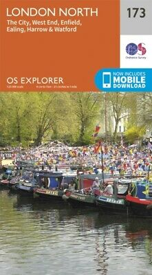 OS Explorer Map (173) London North The City West End Enfield Ealing...