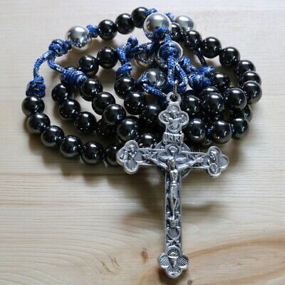 Rosary Camo Blue Paracord Black Steel Beads Cross Rosario Catholic Mercy