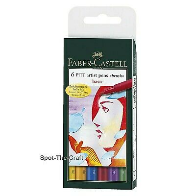 Faber-Castell Pitt Artist Pens Basic India Ink Brush 6 In Set 167103