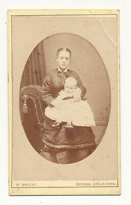 Vintage cabinet card of a woman and baby - William Wright, Bethnal Green Road