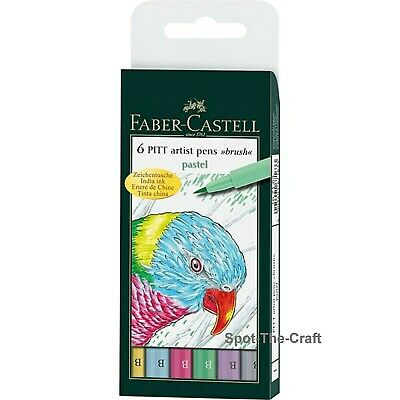 Faber-Castell Pitt Artist Pens Pastel India Ink Brush 6 In Set 167163T