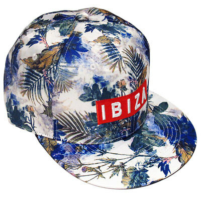 Ibiza Snapback Cap Flora & Fauna Trucker Hat White Green Blue Red RRP £75.00