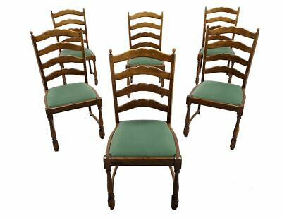 Set of 6 Vintage Mid Century French Provincial Style Ladder Back Oak Dining Chai