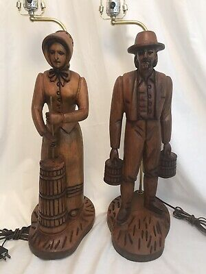 Pair of 2 Vtg Hand Carved Walnut Figural Folk Art Table Lamps Man & Woman Large