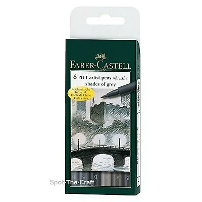 Faber-Castell Pitt Artist Pens Shades of Grey India Ink Brush 6 In Set 167104