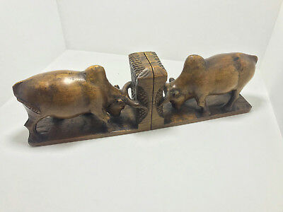 Pair of Carved Wood Book Ends - Mid Century - Vintage Book End - Bos taurus Bull
