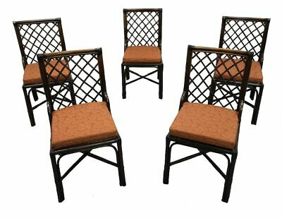Set of 5 Italian Vintage Bamboo Dining Chairs