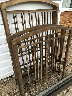 Antique Art Deco Solid Brass Pair of Single Beds with Cast Side Rails - A/F