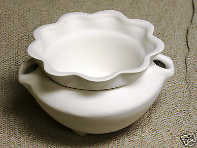 Ceramic Bisque Large African Violet Pot Magnolia 496 U-Paint Ready To Paint