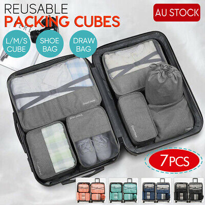 1PC-7PCS Packing Cubes Travel Pouches Luggage Organiser Clothes Storage Bag AU