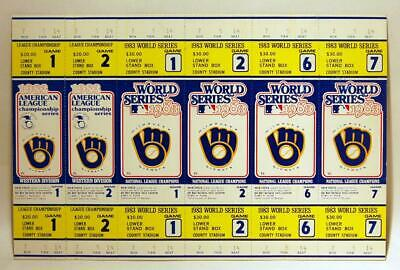 Milwaukee Brewers 1983 Post Season Alcs & World Series Strip Of 6 Tickets