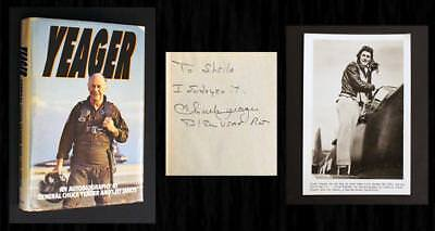 """CHUCK YEAGER SIGNED MEMOIR - """"YEAGER"""" -  1ST PRINT, with WWII Mission Photo! 3"""