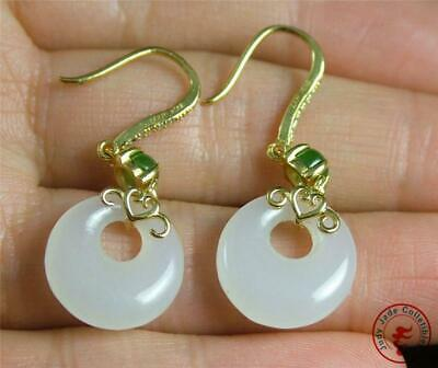A Pair of Chinese Nephrite White & Spinach Jade Earrings Gilt Silver Hook