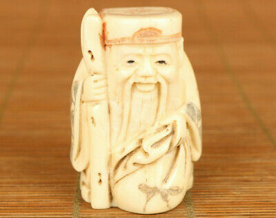 Asian old hand carving god of longevity amulet statue figue netsuke hand piece