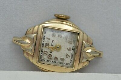 Vintage Clinton Ladies Gold Tone Watch Body Hand Wind TESTED Working iw