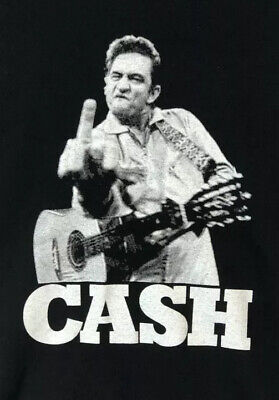 Johnny Cash Middle Finger Size Large Black Music Band T Shirt #u107