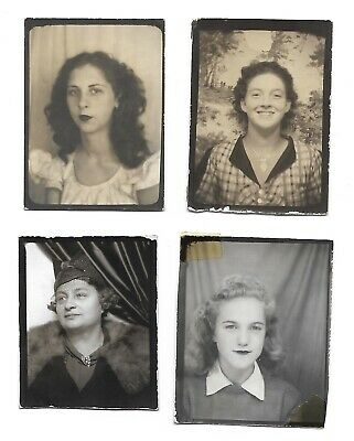 4 Photo Booth Snapshots Women Vintage Photobooth Vintage Fashion Hairdstyles