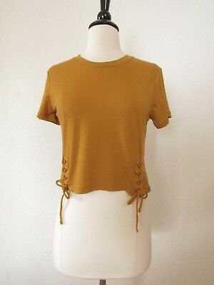 1ad2c6dc926418 Urban Outfitters Crop Top Lace Up Mustard Yellow New Size Large Basic